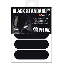 VFLUO Black StandardTM, Kit 4 Bandes Stickers rétro réfléchissants pour Casque Moto, 3M TechnologyTM, Noir