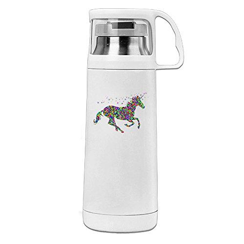Beauty Rainbow Einhorn Thermos Tasse Becher mit Griff Vakuum Isoliert Tasse für heiße und kalte Getränke Kaffee, Tee Thermobecher Travel, 14oz weiß, weiß, Einheitsgröße