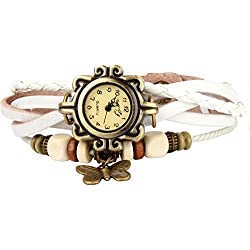 Bohemian Style [Waterproof] Retro Handmade Leather [Butterfly Charm Pendant Wrist Watch] Fashionable Luxury Stylish Weave Around [Wrap Watch Bracelet] For Women Ladies Girls [Scratch Resistant] White