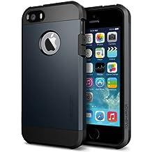 Coque iPhone SE / 5S / 5, Spigen [Tough Armor] Protection US Military Grade [Metal Slate] Anti-Choc, Coque Apple iPhone 5S / 5 / SE (SGP10490)