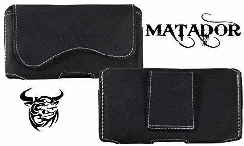 Matador Echt Leder Tasche Case Hülle Handytasche Gürteltasche Quertasche für BQ Aquaris X5 Cyanogen Edition mit verdecktem Magnetverschluß und Gürtelschlaufe in (Crazy Black)