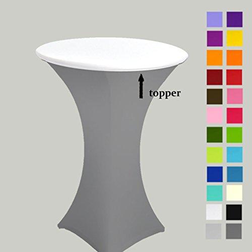 25Farben erhältlich. Spandex Lycra Stretch Topper/Kapuze Für 60cm Durchmesser Poser (Person)/Bar/Runde Tische weiß