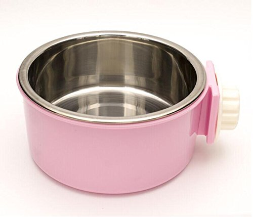 HFZLL Hängende Edelstahl pet Bowl Käfig Hund Käfig hängende Schüssel/Katze/Hund/Katze Wasser Schüssel essen Schüssel essen Schüssel Haustier versorgt , pink