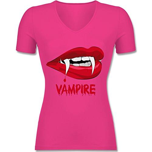 Blut - M - Fuchsia - F281N - Tailliertes T-Shirt mit V-Ausschnitt für Frauen (Vampir Anteil Kostüm)