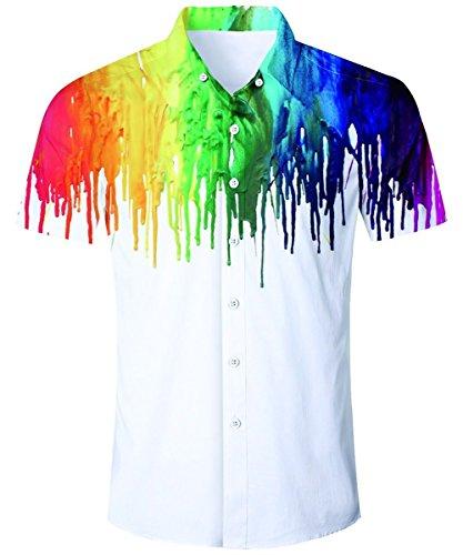 AIDEAONE Männer Bunte Kurzarmhemd Regular Fit Mode Hemd Weiß Plus Größe
