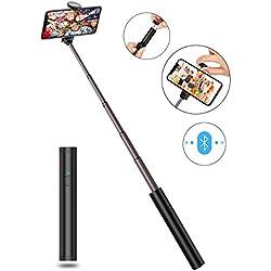 JTWEB Perche Selfie Bluetooth 3 en 1 Ultra-Léger, Bâton Stick Réglable Télescopique, pour iPhone XS/XS Max/XR/X / 8 / 8P / 7 / 7P / 6s / 6/5, Galaxy S9 / 8/7/6 / Note, Huawei, Nubia, Xiaomi