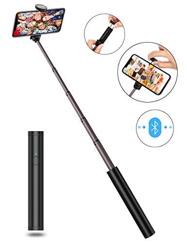 JTWEB Selfie-Stick ausziehbar Handheld mit integrierter Bluetooth Wireless Remote Einbeinstativ Mini Pocket Selfie Stick Universal für Handy 6 6S 7 7 Plus Android 3,5-6 Zoll Handys Wireless Remote Pocket