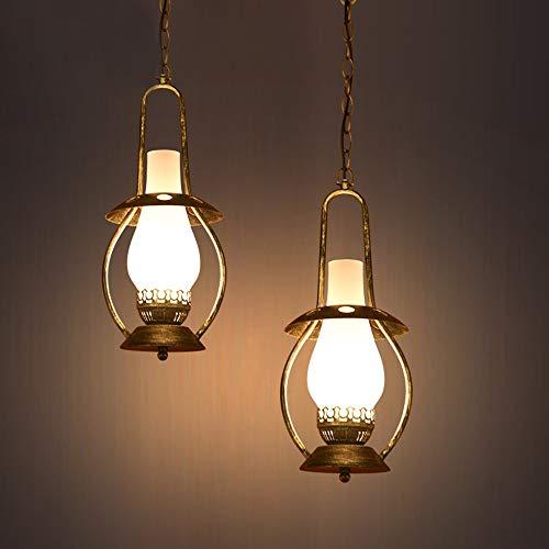 Hängelampe Amerikanische Antike Eisen Kunsthandwerk Kronleuchter Restaurant Cafe Bar Öllampe Bronze Deckenlampe 19x42cm Pendelleuchte