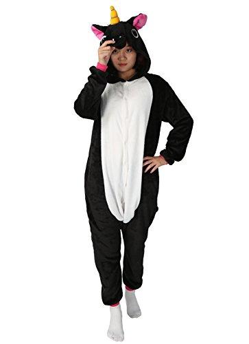 Pigiama o costume di carnevale halloween pigiama cosplay party onepiece intero animali unicorno regalo di compleanno per adulti adolescenziale ragazzi (m(155-168cm), nero)