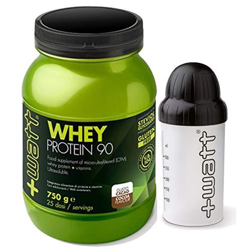 Proteine del siero del latte isolate, +Watt, qualità Volac + Shaker, Gusto Cacao