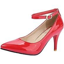 4c5d47efc47133 JYshoes Lack Riemchenpumps High Heels Stiletto Pumps mit Pfennigabsatz  Schuhe Damen sommerpumps Bequem