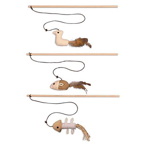 ecoworks Premium Katzenspielzeug  natürliche robuste Spielangel mit Maus   Stofftier 3er Set zur Katzenbeschäftigung   Kratzspielzeug   Geschenkbox   interaktives Zubehör   natürlichen Fasern & Federn
