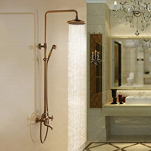 Bathroom Shower Set With Shower Hand And Round Shower Hand Rainfall Antique Brass Mixer Taps Double Handles Bathroom Combo