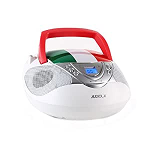 Majestic AH 0258 Poste radio stéréo CD AUX FM/AM USB MP3 drapeau italien