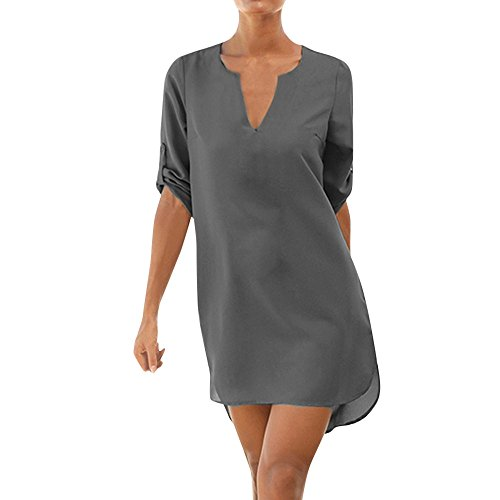 VEMOW Sommer Herbst Elegante Damen Frauen Casual Solid 1/2 Sleeved V-Ausschnitt Tagesgeschäft Workout Strand Lace-up Tasche unregelmäßigen Hem Beach Dress(Grau, EU-38/CN-S)