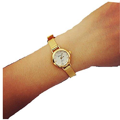 Kleine Armband Gold (AMUSTER.DAN Frauen Quarz Analog Armbanduhr Kleine Zifferblatt Zarte Uhr Business Uhren (Gold))