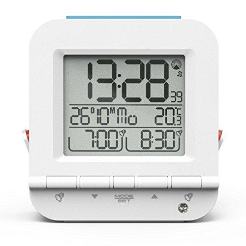 Hama Funkwecker Dual Alarm (Zwei Weckzeiten, ansteigender Weckton, sensorgesteuerte Nachtlicht-Funktion, Snooze, Temperatur, Datum, batteriebetrieben) Wecker Digital Funkuhr weiß