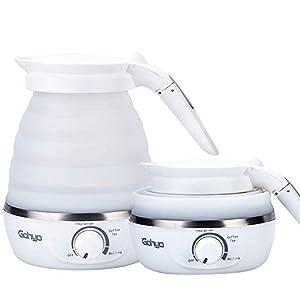 Faltbarer Reisewasserkocher Tragbar Wasserkocher Doppelspannung & BPA-frei,Trockenschutz Reisewasserkocher mit Abtrennbarem Netzkabel für Camping,0.6L,Weiß,Gohyo
