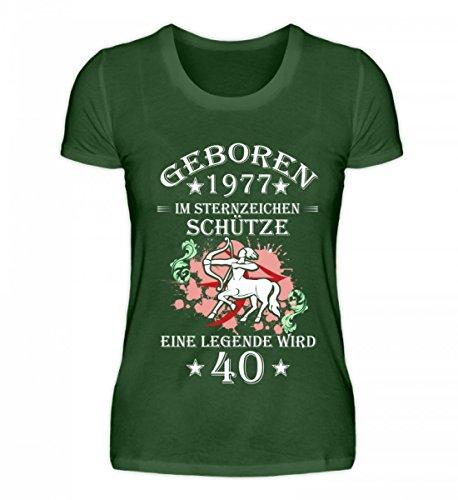 Shirtee Hochwertiges Damen Premiumshirt - Sternzeichen Schütze Wird 40 Dark Green