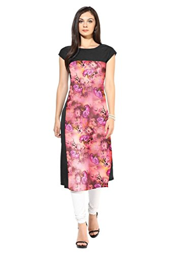 Ziyaa Multicoloured Boat Neck With Cap Sleeve Faux Crepe Digital Print Kurti  available at amazon for Rs.456