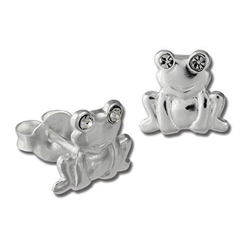 Teenie-Weenie Ohrstecker weiß Ohrringe Sterlingsilber Frosch Kinder D1SDO8022W -