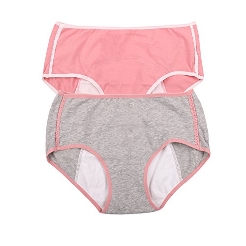 Women's Menstrual Period Protection Leak Proof Control Brief 3 Pack Pink,grigio