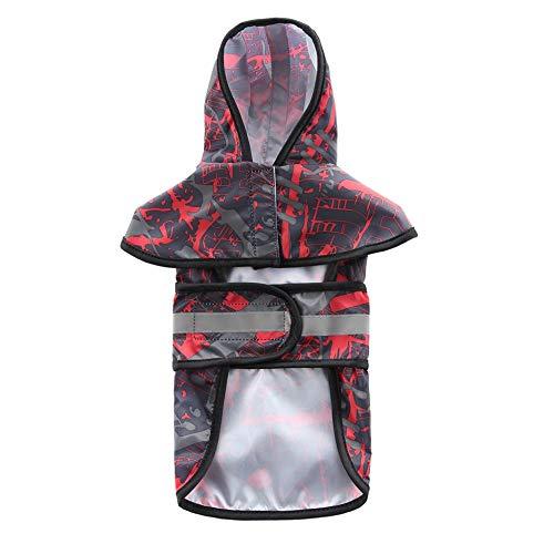 JKRTR Haustier-Hundekatze Mode imprägniern große Regenmantel reflektierende Hundekleidung Regenmantel Poncho(Rot,XS)