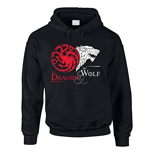 Game of Thrones - The Dragon & the Wolf - Targaryen & Stark - GoT Herren Hoodie - von SHIRT DEPARTMENT, 4XL, schwarz-weiss Fashion House-tv-serien