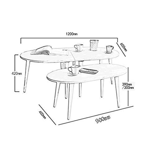 VYN Couchtische Haushalt Beistelltisch Moderne Massivholz Oval Kleine 120 * 42 * 60 Cm,30CM,Weiß - Schlafzimmer Modernen Beistelltisch