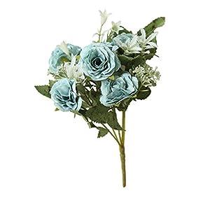 SuperSU Wohnaccessoires & Deko Kunstblumen Kunstblumen Wilde Rose Blumen Künstliche Seide,Braut Hochzeit Bouquet Garten Dekor Blumenstrauß Gefälschte Blumen