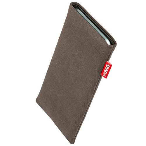 fitBAG Rock Taupe Handytasche Tasche aus Textil-Stoff mit Microfaserinnenfutter für Obi Worldphone SF1 | Hülle mit Reinigungsfunktion | Made in Germany