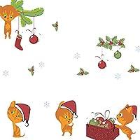 ZZuffig Gato del Navidad Etiqueta de la Pared, Pared Pegatinas Pegatinas Removibles en la Sala de Estar o decoración 50 * 70cm, Navidad Decoración