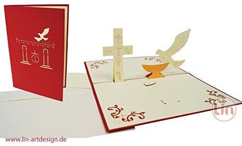 POP UP Grußkarte 3D Grußkarten Einladung Kommunion Konfirmation Taube & Kreuz (#102)