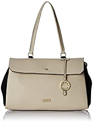 Cathy London Women's Handbag, Colour- Beige/Black, Material- Synthetic Leather