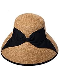 Kylin Express femmes été plage pliable Chapeau de paille soleil Bouchons Marron