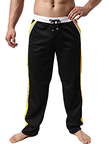 Men's Casual Leisure Homewear Trousers Black