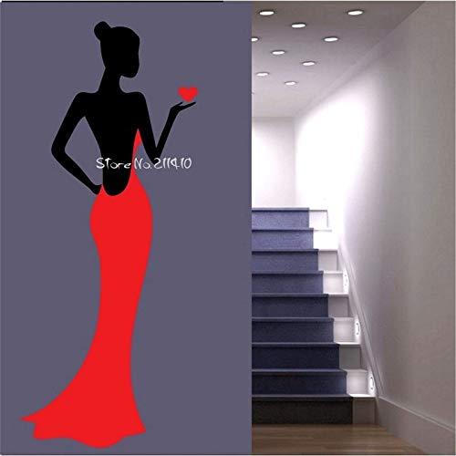 zhuziji Mode Dame Trägt Rot Langes Abendkleid Wandaufkleber Steuern Dekor Wohnzimmer Benutzerdefinierte Farbe Vinyl Große Wand Deca weiß 108x46 cm