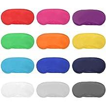 12 Piezas de Máscara de Ojos de Multicolor Cubierta Antifaz de Peso Ligero con Almohadilla de Nariz y Correa Elástica para Niños Mujeres Hombres, 12 Colores