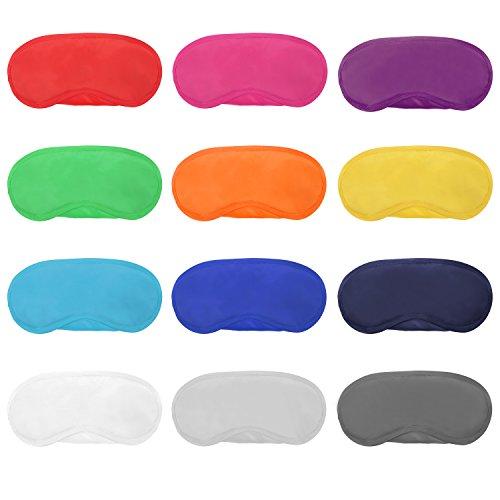 Foto de 12 Piezas de Máscara de Ojos de Multicolor Cubierta Antifaz de Peso Ligero con Almohadilla de Nariz y Correa Elástica para Niños Mujeres Hombres, 12 Colores