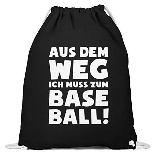 shirt-o-magic Baseballer: Muss zum Baseball! - Baumwoll Gymsac -37cm-46cm-Schwarz