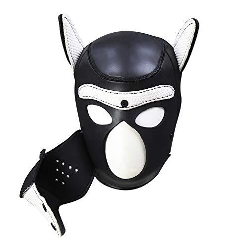 Kostüm White Maske Masquerade - COSY-L Sexual Kostüm Maske Kapuze Full Face Cover Hundekopfbedeckung Rollenspiel Maniac-Maske für Masquerade Lace Up WSX01,White