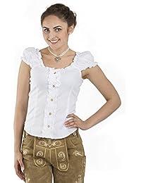 Trachtenbluse Carmen weiss - elegante Bluse - Trachten Carmenbluse