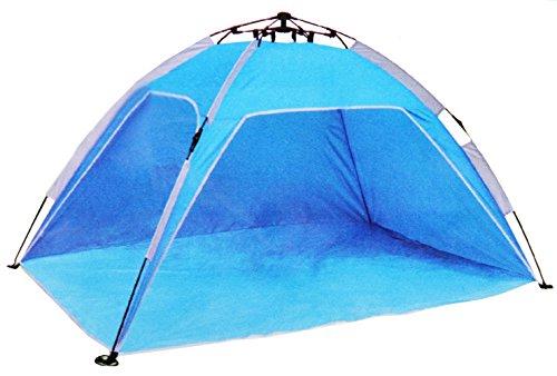 com-four® Automatik Strandmuschel mit Seilzug - Windschutz Sonnenschutz Sichtschutz für Strand und Garten 200 x 120 x 100 cm