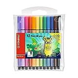 STABILO Pen 68Mini-Marker Premium Mini Funnimals–Limited Edition–Set mit 12Farben–mit Kleber, leuchtet im Dunkeln