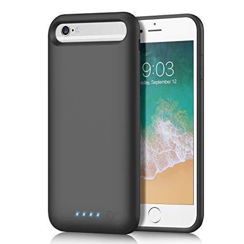 QTshine Akkuhülle für iPhone 8/7/6S/6, [6000mAh 2019 Neueste] Zusatzakku Ladehülle Akku hülle Handyhülle, Akku Battery Case Powerbank Hülle für iPhone 8/7/6S/6, Tragbare Akku Case Schwarz [4,7 Zoll]