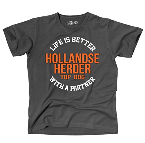 Siviwonder Unisex T-Shirt HOLLANDSE HERDER - LIFE IS BETTER PARTNER Hunde Dark Grey
