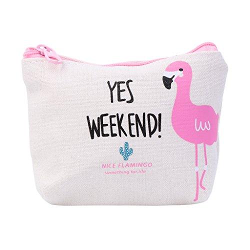 """lamdoo 2017Neue Mignon Frauen Stipendien-Comic Flamingo Leinwand Ecke Brieftasche Geschenk Tasche, beige, 12x9cm/4.72x3.54"""""""