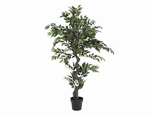artplants – Künstlicher Ficus Exotica Yuma, grün, 110 cm – Deko Feigen Pflanze/Kunstbaum