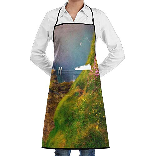 The Irish Cliffs Of Moher With Beautiful Wildflowers Novelty 3D Print Water Resistant Polyester Kitchen Apron With Big Pockets Machine Washable Easy Care Twill Sewing Bib Apron For Cooking BBQ Party