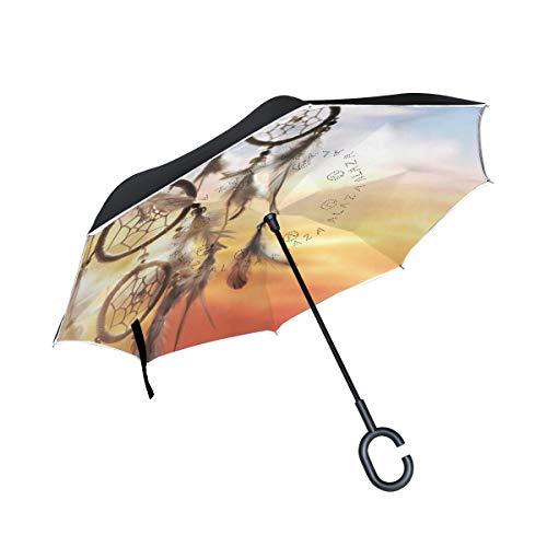 Paraguas invertido CPYang, diseño Tribal atrapasueños, Doble Capa, Reflectante, Resistente al Viento, para Auto, al Aire Libre, Viajes